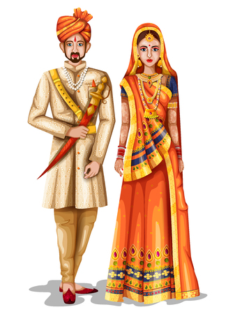 Photo pour easy to edit vector illustration of Rajasthani wedding couple in traditional costume of Rajasthan, India - image libre de droit