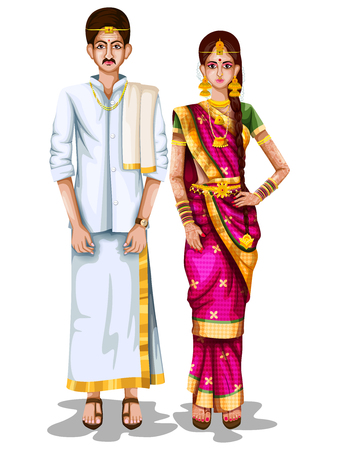 Illustration pour Tamil wedding couple in traditional costume of Tamil Nadu, India - image libre de droit