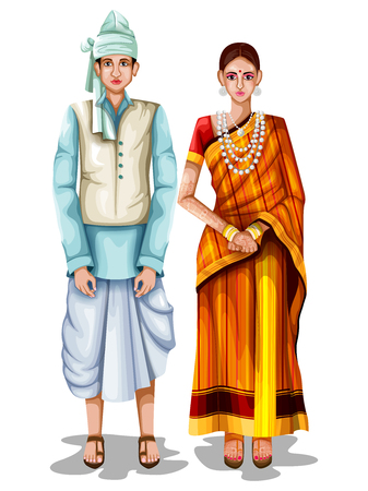 Photo pour easy to edit vector illustration of Tripuri wedding couple in traditional costume of Tripura, India - image libre de droit