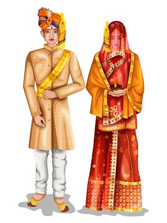 Photo pour easy to edit vector illustration of Uttarpradeshi wedding couple in traditional costume of Uttar Pradesh, India - image libre de droit