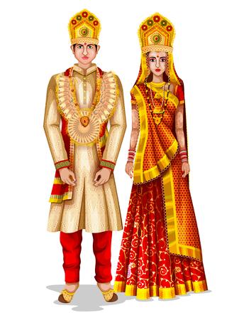Photo pour Uttaranchali wedding couple in traditional costume of Uttaranchal, India - image libre de droit