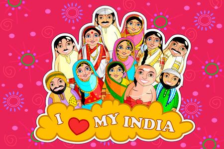 Ilustración de Indian couples colorful illustration representing diverse culture from different states. - Imagen libre de derechos
