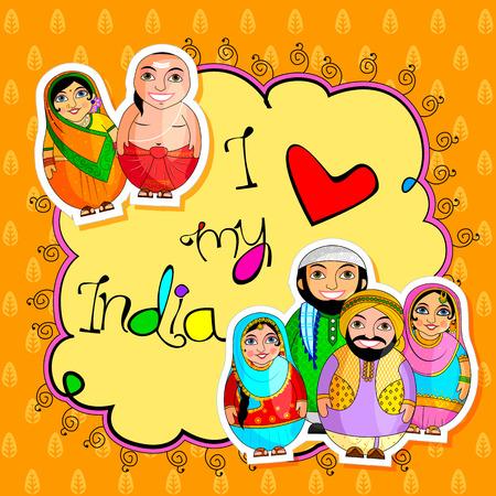 Ilustración de Nested Doll Indian couple representing diverse culture from different States - Imagen libre de derechos