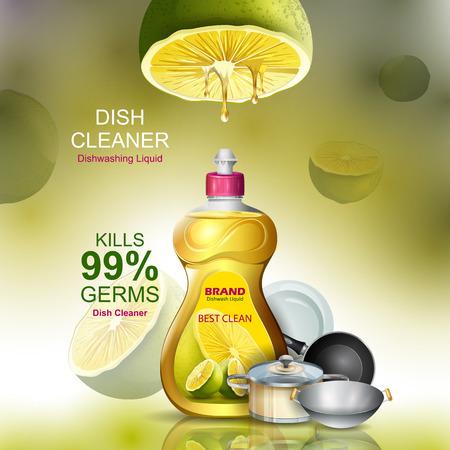 Ilustración de Advertisement banner of tough stain remover liquid Dishwasher for clean and fresh utensil - Imagen libre de derechos