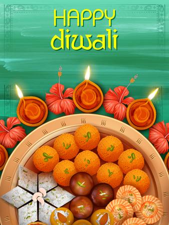 Ilustración de Burning diya with assorted sweet and snack on Happy Diwali Holiday background for light festival of India - Imagen libre de derechos