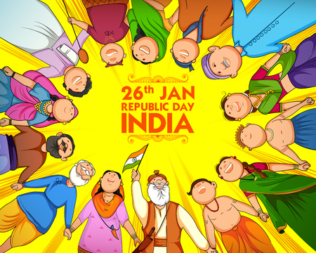 Illustrazione per People of different religion showing Unity in Diversity on Happy Republic Day of India - Immagini Royalty Free