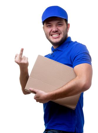 Foto de Image of young man in blue T-shirt and baseball cap with cardboard box - Imagen libre de derechos