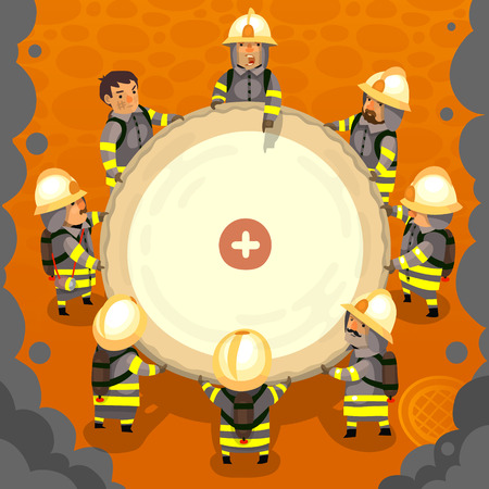Ilustración de Set of cartoon fireman doing their job and saving people. EPS 10 - Imagen libre de derechos