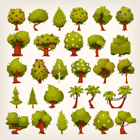 Illustration pour Collection of all kinds of trees for your design - image libre de droit