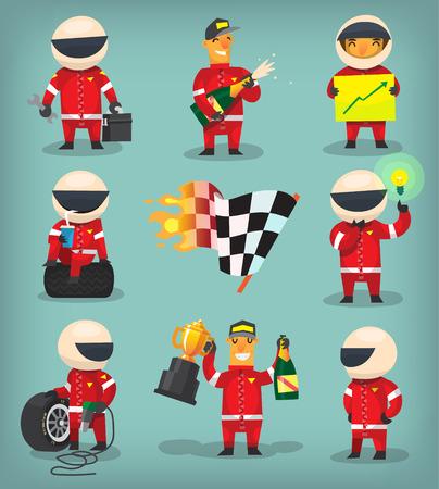 Ilustración de Set of colorful racing participants, champions, engineers and pit stop workers - Imagen libre de derechos