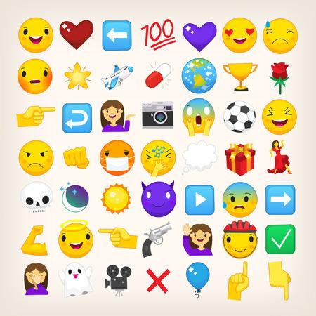 Ilustración de Collection of graphic emoticons, signs and symbols used in online chats - Imagen libre de derechos