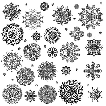 Ilustración de Mandala. Ethnic decorative elements. Hand drawn background. Islam, Arabic, Indian, ottoman motifs. - Imagen libre de derechos