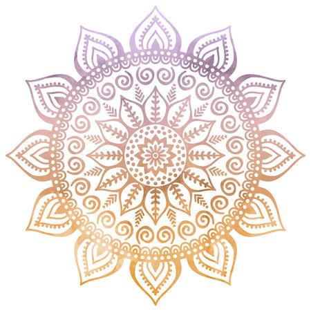 Illustration pour Vector Mandala. Round ornament in ethnic style. Hand draw - image libre de droit