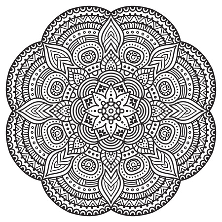 Photo for Vector Mandala. Round ornament in ethnic style. Hand draw - Royalty Free Image
