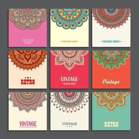 Illustration for Elegant Indian ornamentation on a dark background. Stylish design. Can be used as a greeting card or wedding invitation - Royalty Free Image