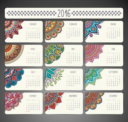 Illustration pour Calendar with mandalas. Hand draw ethnic pattern - image libre de droit