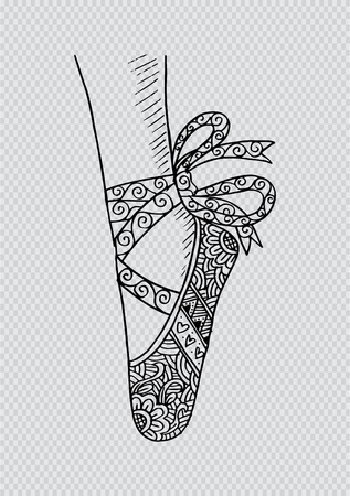 Illustrazione per Leg and shoes of a young ballerina illustration, hand drawing - Immagini Royalty Free