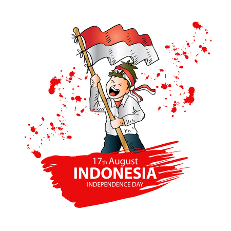 Illustrazione per 17 August. Indonesia Independence Day greeting card. - Immagini Royalty Free