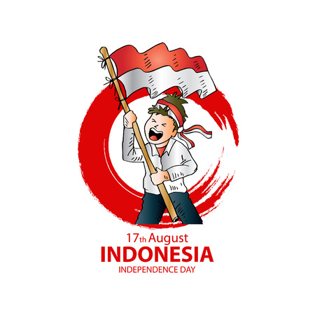 Illustration pour 17 August. Indonesia Independence Day greeting card. - image libre de droit