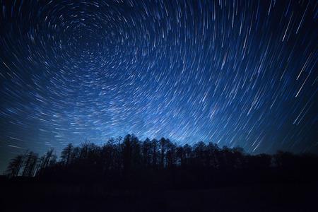 Foto de night sky, star trails and the forest - Imagen libre de derechos