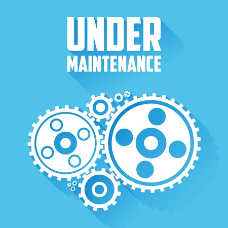 Illustration pour White Cogwheels isolated on a blue background. Under maintenance website page message. Flat style with long shadows. Modern trendy design. Vector illustration. - image libre de droit