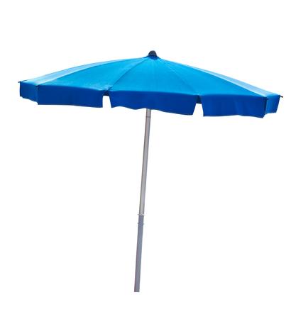 Foto de Blue beach umbrella isolated on white with clipping path - Imagen libre de derechos