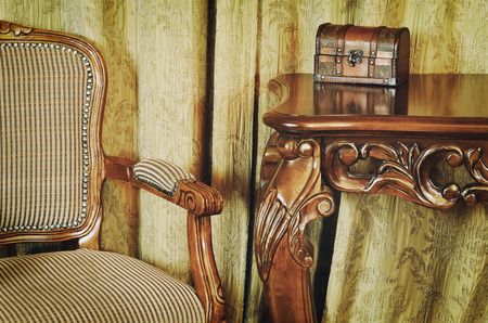 Photo pour Fragment Of The Interior With Antique Furniture And Coffret On The Table - image libre de droit