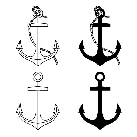 Illustrazione per Vector set with isolated anchors  Black and white - Immagini Royalty Free