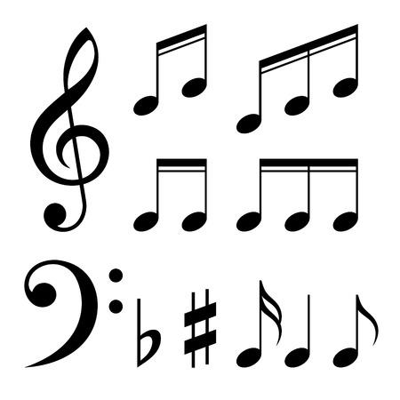 Illustration pour Set of music notes vector. Black and white silhouettes - image libre de droit