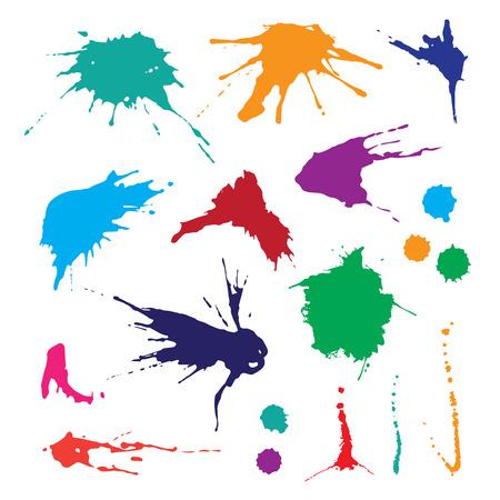 Ilustración de Collection of paint splash. Vector set of brush strokes. Isolated on white background - Imagen libre de derechos