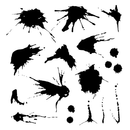 Illustrazione per Collection of paint splash. Vector set of brush strokes. Isolated on white background - Immagini Royalty Free