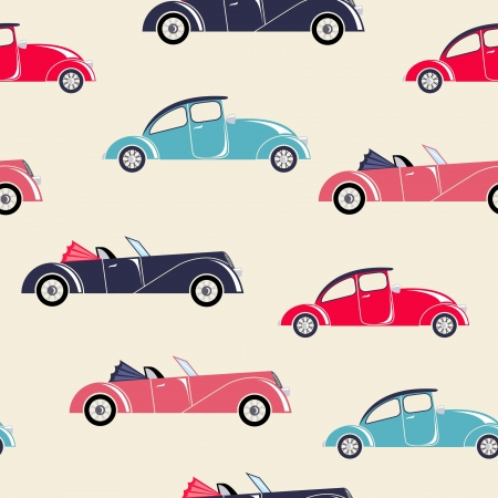 Retro cars seamless pattern mural