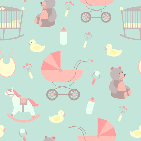 Foto de Seamless baby background. Rocking horse, teddy bear, stroller, duck, bib. - Imagen libre de derechos