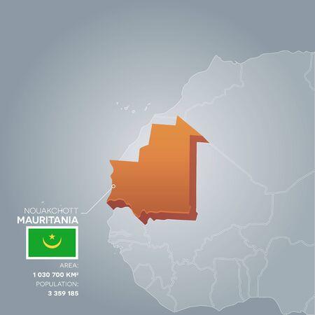 Illustration pour Mauritania information map. - image libre de droit