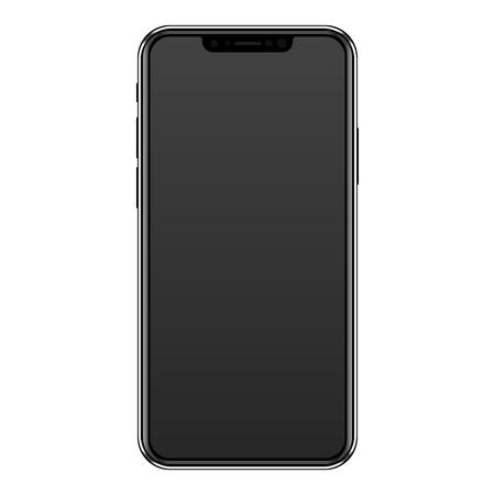 Photo pour Modern frameless black smartphone tablet with bangs. - image libre de droit
