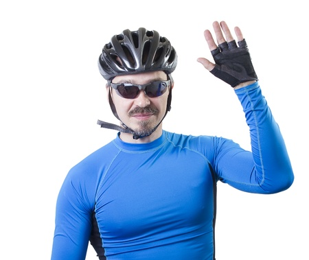 Adult bicyclist waving with palm.