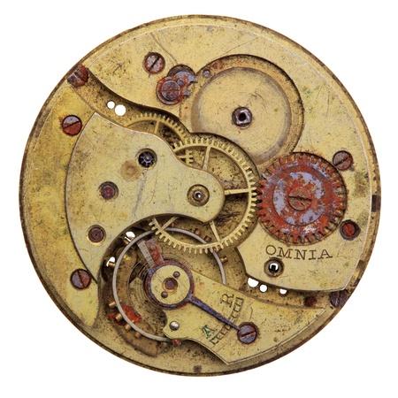 Photo pour Close-up of a vintage rusty clock, isolated - image libre de droit