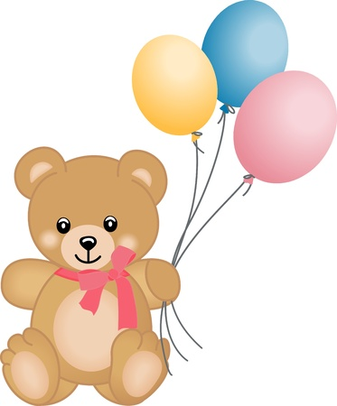 Photo for Cute teddy bear flying balloons - Royalty Free Image