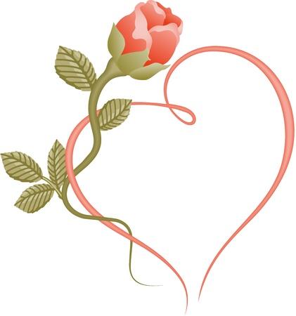 Photo pour Rose heart frame - image libre de droit