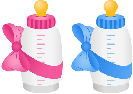 Illustration pour Baby bottle with bow tie - image libre de droit