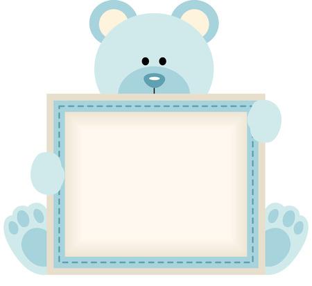 Illustration pour Cute teddy bear holding blank sign for baby boy announcement - image libre de droit