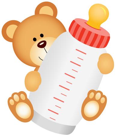 Ilustración de Teddy bear baby with bottle milk - Imagen libre de derechos