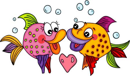Ilustración de Fish couple love - Imagen libre de derechos