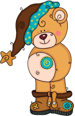 Ilustración de Cute teddy bear with brown hat and boots - Imagen libre de derechos
