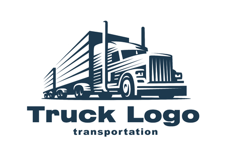 Illustration pour Logo illustration of a truck with trailer. - image libre de droit