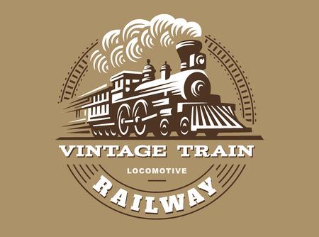 Illustration pour Locomotive illustration, vintage style emblem design - image libre de droit