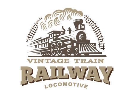 Ilustración de Locomotive illustration, vintage style emblem design - Imagen libre de derechos