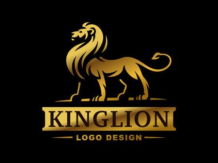 Illustration pour Gold lion logo - vector illustration, emblem design on black background - image libre de droit