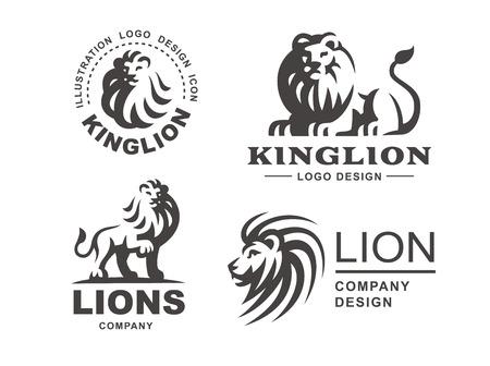 Illustration pour Lion logo set - vector illustration, emblem design on white background - image libre de droit