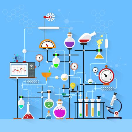 Illustration pour Flat design. Laboratory workspace and workplace concept.Chemistry, physics, biology.Modern vector illustration. - image libre de droit